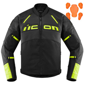 Icon Men's Contra 2 Leather Jacket - Hi-Viz