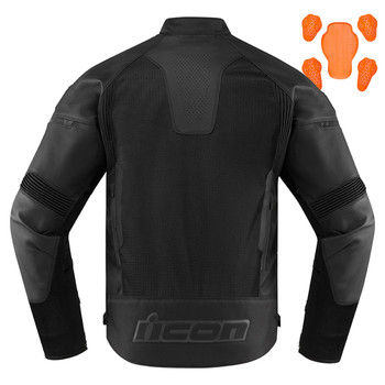 Icon Men's Contra 2 Perforated Leather Jacket - Stealth Black