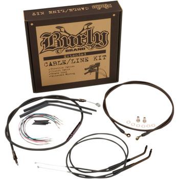 "Burly Black Vinyl Cable and Brake Line 12"" T-Bar Kit for 2016-2017 Harley Dyna FXDLS"