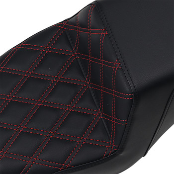 Saddlemen LS Step Up Seat for 2004-2016 Harley Sportster - Red Stitch
