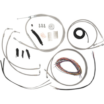 """LA Choppers 12""""-14"""" Cable Kit for 2008-2013 FLHT/FLHR/FLHX w/ ABS - Stainless"""
