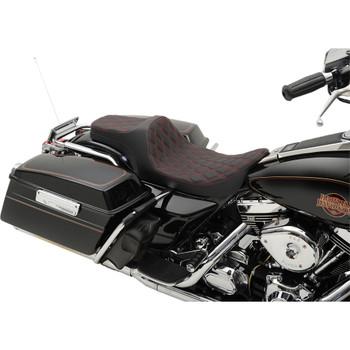 Drag Specialties Predator III Seat for 1997-2007 Harley FLHR FLHX – Red Double Diamond Stitch