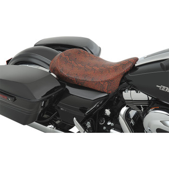 Drag Specialties Low-Profile Solo Seat for 2008-2020 Harley Touring – Red Faux Python