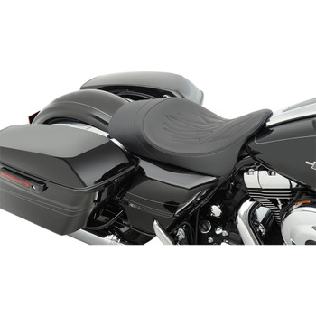 Drag Specialties Forward Position Low-Profile Solo Seat for 2008-2020 Harley Touring – Flame Stitch