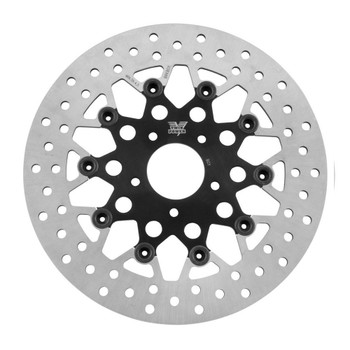 "Twin Power 11.5"" Floating Mesh Front Brake Rotor for Harley - Black"
