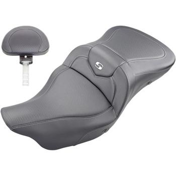 Saddlemen Heated Road Sofa Seat with Backrest for 2009-2020 Harley Tri-Glide – Carbon Fiber