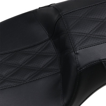 LePera Outcast Daddy Long Legs 2-Up Seat for 2008-2020 Harley Touring - Black Double Diamond Stitch