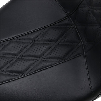 LePera Outcast GT 2-Up Seat w/ Backrest for 2008-2020 Harley Touring - Perforated Black Double Diamond