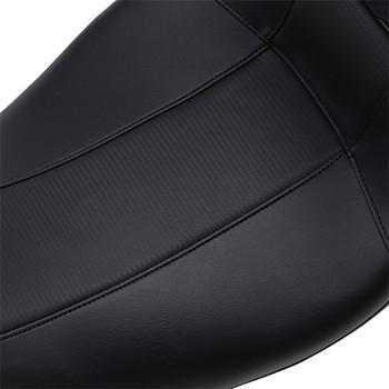 LePera Outcast GT 2-Up Seat w/ Driver Backrest for 2008-2020 Harley Touring - Black/Carbon Weave