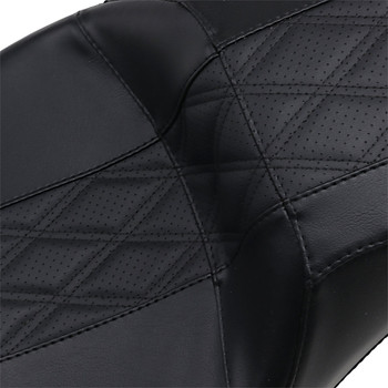 LePera Outcast GT 2-Up Seat for 2008-2020 Harley Touring - Perforated Black Double Diamond