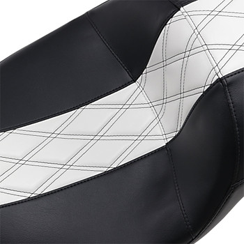 LePera Maverick Daddy Long Legs Seat for 2008-2020 Harley Touring - Black/White Double Diamond Stitch