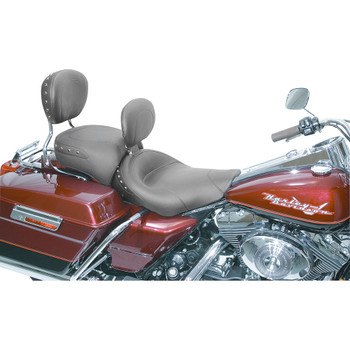 Mustang Wide Touring Solo Seat w/ Backrest for 1997-2007 Harley FLHX/FLHR - Black Studs