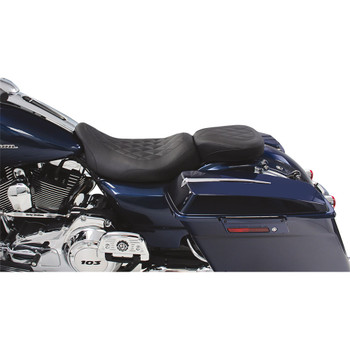 Mustang Wide Tripper Black Rear Seat for 2008-2020 Harley Touring - Diamond