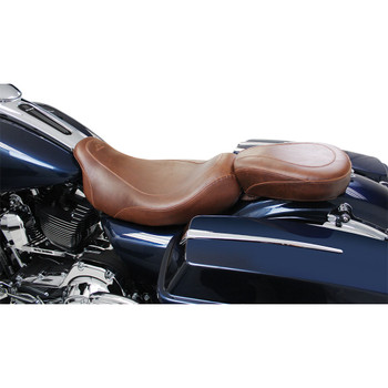 Mustang Wide Tripper Brown Rear Seat for 2008-2020 Harley Touring - Smooth