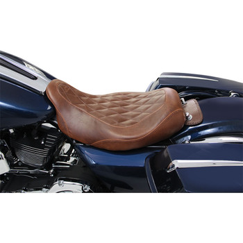 Mustang Wide Tripper Brown Solo Seat for 2008-2020 Harley Touring - Diamond