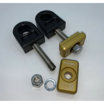 Bare Knuckle Complete Axle Adjuster Kit for 1980-2001 Harley - Gold