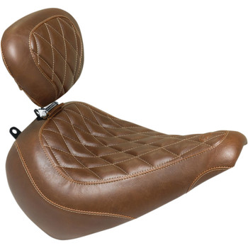 Mustang Brown Wide Tripper Solo Seat with Backrest for 2018-2020 Harley Fat Boy - Diamond