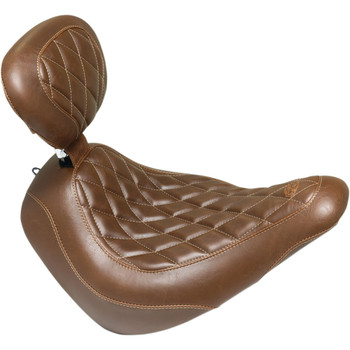 Mustang Brown Wide Tripper Solo Seat with Backrest for 2018-2020 Harley FXLR/FLSB - Diamond