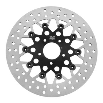 """Twin Power 11.8"""" Floating Mesh Front Brake Rotor for Harley - Black"""