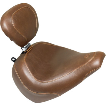 Mustang Brown Wide Tripper Solo Seat with Backrest for 2018-2020 Harley Breakout - Vintage