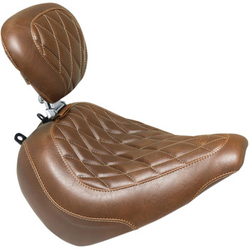 Mustang Brown Wide Tripper Solo Seat with Backrest for 2018-2020 Harley Breakout - Diamond