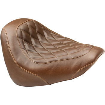 Mustang Brown Wide Tripper Solo Seat for 2018-2020 Harley Fat Bob - Diamond