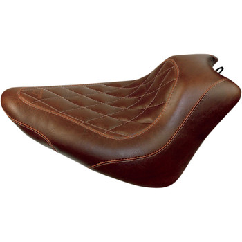 Mustang Brown Wide Tripper Solo Seat for 2011-2017 Harley Softail FXS/FLS - Diamond