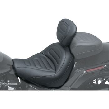 Mustang Max Profile Solo Touring Seat w/ Backrest for 2018-2020 Harley Fat Bob - Trapezoid Stitch