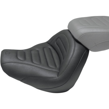 Mustang Max Profile Solo Touring Seat for 2018-2020 Harley Fat Bob - Trapezoid Stitch