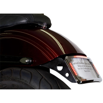 Cycle Visions Curved License Plate Mount Slick Signal for 2010-2017 Harley FXDWG - Chrome