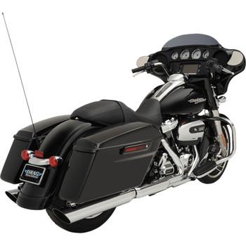 """Drag Specialties 4"""" Slashdown Slip-On Mufflers for 2017-2020 Harley Touring - Chrome"""