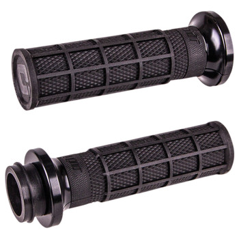 ODI Hart Luck Full Waffle Lock-On Grips for Harley Electronic Throttle - Black/Black