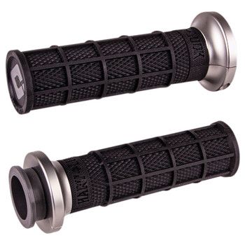 ODI Hart Luck Full Waffle Lock-On Grips for Harley Electronic Throttle - Black/Graphite