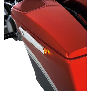 Alloy Art Lighted Saddlebag Hinge Covers for 2014-2020 Harley Touring - Chrome w/ Red LED's