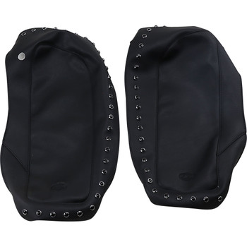Mustang Saddlebag Lid Covers for 2014-2020 Harley Touring - Black Studded
