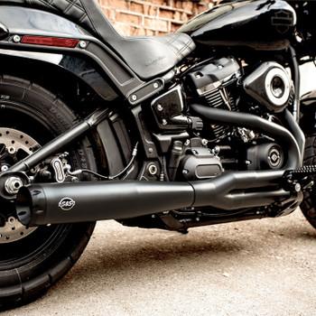 S&S Superstreet 2-1 Exhaust for 2018-2020 Harley FXBB/FXLR/FLSL/FXFB/FLDE/FXST - Black