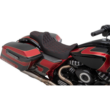 Drag Specialties Predator III Extended Reach Seat for 2008-2020 Harley Touring - Red Diamond