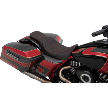 Drag Specialties Predator 2-Up Seat for 2008-2020 Harley Touring - Red Double Diamond Stitch
