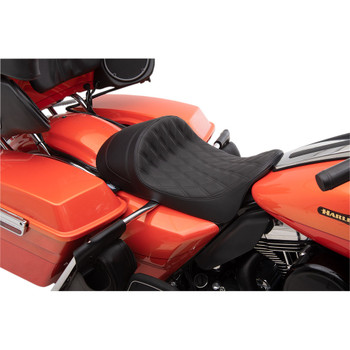 Drag Specialties EZ-On Low Profile Forward Positioning Solo Seat for 2008-2020 Harley Touring - Black Double Diamond