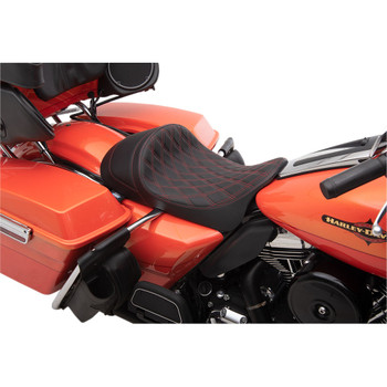 Drag Specialties EZ-On Low Profile Forward Positioning Solo Seat for 2008-2020 Harley Touring - Red Double Diamond