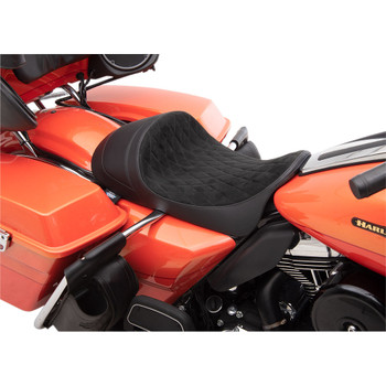 Drag Specialties EZ-On Low Profile Forward Positioning Solo Seat for 2008-2020 Harley Touring - Faux Suede Diamond
