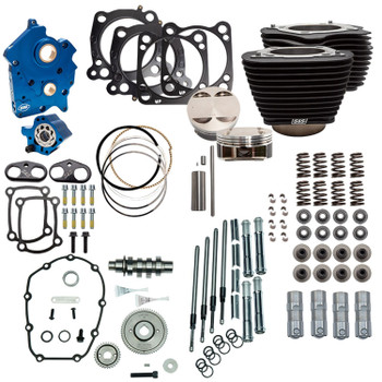 """S&S 128"""" Power Pack Kit Gear Drive Oil Cooled for 114"""" Harley M8 - Non-Highlighted Fins and Chrome Pushrod Tubes"""