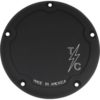 Thrashin Supply Dished 5-Hole Derby Cover - Black / Machined