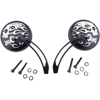 "Drag Specialties Flaming Skull Round Mirror Set w/ 6"" Slotted Stem - Matte Black/Chrome"