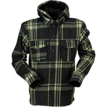 Z1R Timber Hooded Flannel Shirt - Black/Olive