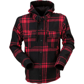Z1R Timber Hooded Flannel Shirt - Black/Red