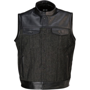 Z1R Linchpin Black Leather/Denim Vest