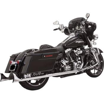 "Bassani Chrome 2-1/4"" Fishtail 33"" Slip-On Mufflers for 1995-2016 Harley Touring - With Baffle"