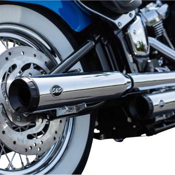 S&S Grand National Slip-On Mufflers Race Only for 2018-2020 Harley Softail FLHC/ FLDE - Chrome