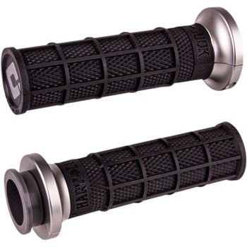 ODI Hart Luck Full Waffle Lock-On Grips for Harley Dual Cable - Black/Gun Metal